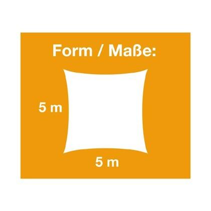 Sonnensegel Premium / Quadrat / 5m x 5m / aus beschichtetem Polyestergewebe / Wasserabweisend
